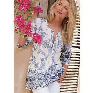 🆕 Soft Surroundings White & Blue Print Tunic Top